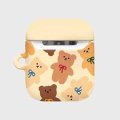 Dot ribbon bear-ivory(Hard air pods)_(1530433)