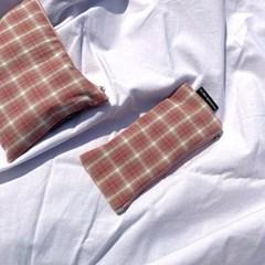 피치 체크 필통 (Peach check pencil case)