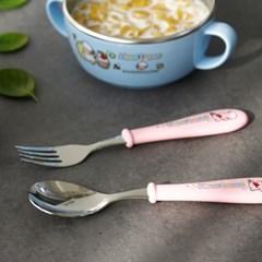 해피램 유아 수저+포크+케이스세트(핑크)