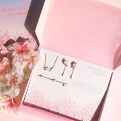 [벚꽃잎으로 물드는 순간] 벚꽃 귀걸이 목걸이 팔찌 3종 세트