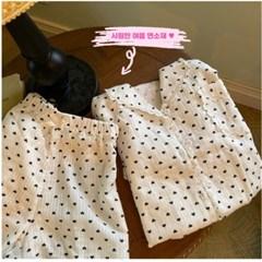 하트 레이스 면 파자마 여름 잠옷 홈웨어