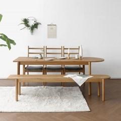 [오크] A형 반원형 식탁/테이블 세트 : 화이트오크_(1506618)