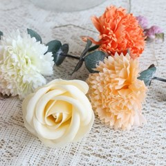 6가지 색상 카네이션 비누꽃, 피치색 비누꽃 10개 선택