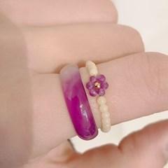 [비즈 원석 반지] 플라워마노set반지