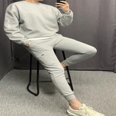 데일리룩 오버핏 카고 맨투맨 슬림 트레이닝 팬츠세트