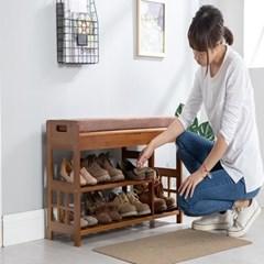 좌식형 원목 신발장 현관벤치 수납장 의자 소_(141826)