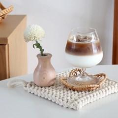 별 라탄 코스터 나무 컵받침