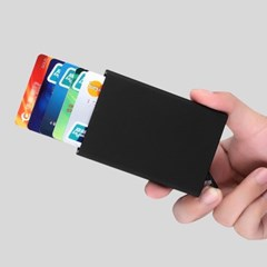 블랙 안티스키밍 팝업 슬라이드 카드지갑