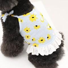 [ODD PET][ODD STUDIO] 플라워 셔츠 민소매 - 옐로우 플라워