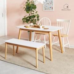 화이트 HPL 원목 식탁 겸 테이블 1280 AD013_(2617800)
