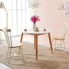 화이트 HPL 원목 원형 식탁 테이블 1000 AD018_(2617797)