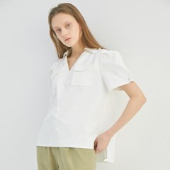 PUFF SLEEVE SHIRRING BLOUSE (2COLORS)