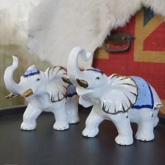 세라믹 블루장식 화이트 코끼리 2P