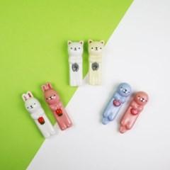 도자기 수저받침 동물시리즈 - 고양이, 수달, 토끼