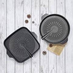퀸센스 그린 구이팬 33cm 원형 사각 가정용 고기불판