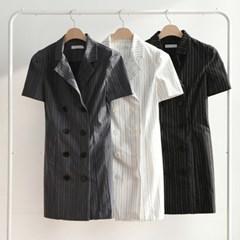 오피스룩 슬림 H라인 스트라이프 셔츠 미니원피스