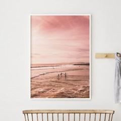 핑크비치 바다 그림 액자 인테리어 포스터