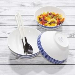 한국도자기 본차이나 블루문 면기세트 4p 큰그릇 18cm