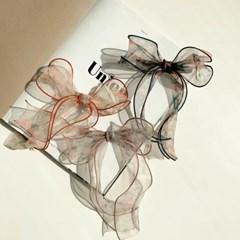 쉬폰 플라워패턴 리본 헤어핀 3color