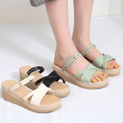 kami et muse Platform middle wedge slippers_KM20s136