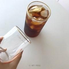 골드링 홈카페 심플유리컵