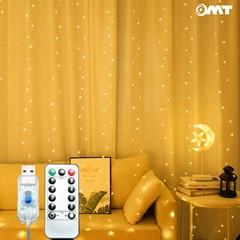 커튼식 LED 조명 3M길이 8가지점등모드 USB전원 리모콘_(1529570)