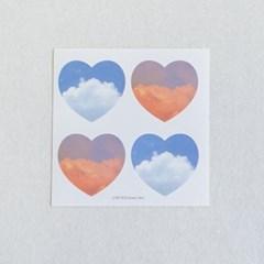 [메리필름] 하늘 구름 하트 스티커 5장 1set