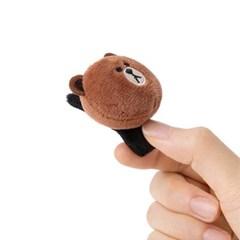 라인프렌즈 얼굴인형 헤어핀(집게형) - 브라운