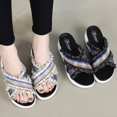 kami et muse Vintage glittering strap tall up slippers_KM20s139