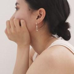 [92.5실버 드롭 귀걸이] 큐빅언발 이어링