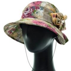 [플릭앤플록]IAU04.씨쓰루 꽃나염 코사지 여성 벙거지