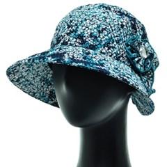 [플릭앤플록]IAU03.잔꽃 나염 코사지 여성 벙거지 모자