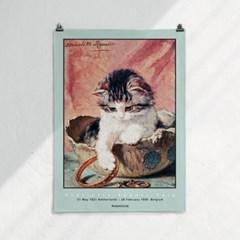 패브릭 천 포스터 F333 명화 동물 그림 액자 고양이 C