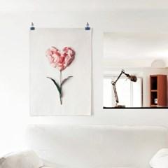 패브릭 천 포스터 F329 식물 꽃 감성 액자 플라워 하트