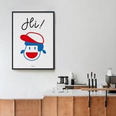Hi M 유니크 인테리어 디자인 포스터 하이 인사 캐릭터