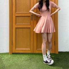 3883 레이온 반팔 플레어 원피스(3colors)