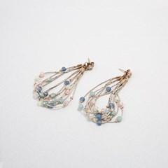 [쥬디앤폴] 비비아나 파스텔톤 비즈 장식 드롭 귀걸이 E41187