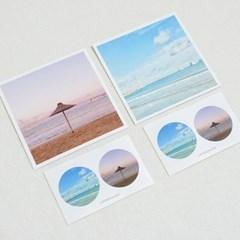 [메리필름] 부산 광안대교 바다 엽서, 스티커 set