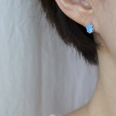 블루 오팔 왕관 귀걸이(10월탄생석)