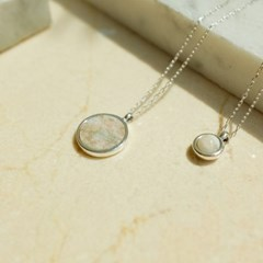 925silver Arin Marble SignaturenNecklace (Pink Green)