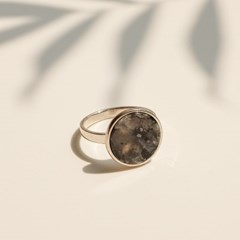 925silver Arin Marble Signature Ring (Mood Black)