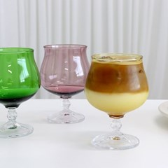 스모크 컬러 고블렛 와인잔 유리컵 샴페인잔