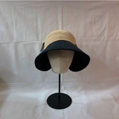왕리본 패션 투톤 숏챙 라탄 버킷햇 벙거지 모자