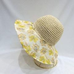 꽃무늬 구슬 패션 라탄 밀짚 버킷햇 벙거지 모자