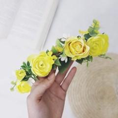 메가토 플라워화관 yellow color 조화 웨딩파티소품