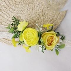 메가토 꽃팔찌 yellow color 조화웨딩파티소품
