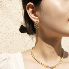 글라스비즈&담수진주 귀걸이, 반지 세트