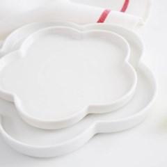 플라워 접시 white (2size)