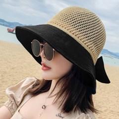 피요 햇빛 자외선차단 배색 썬캡 리본 밀짚모자_(2424581)