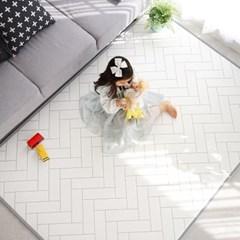 말랑말랑 PVC 15T 헤링본 화이트 놀이방매트